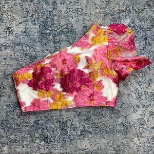 REVOLVE Ivory & Chain Floral One Shoulder Crop Top